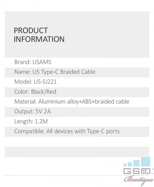 Cablu Date Usams Aluminium Braided US-SJ221 U5 Type-C Negru