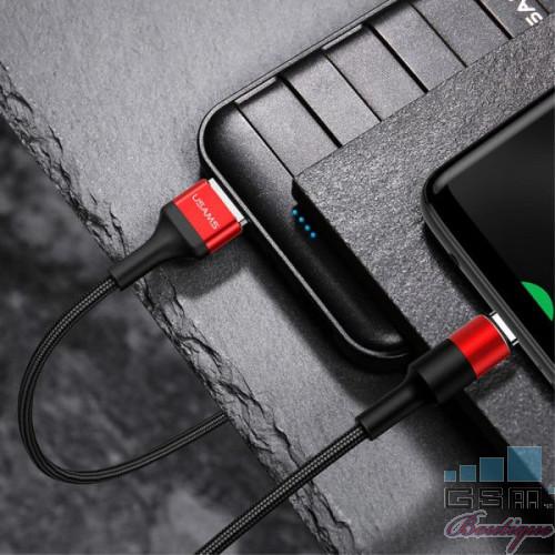 Cablu de date USAMS USB tip C, Rosu