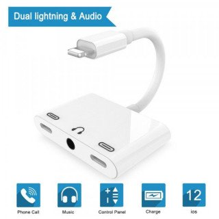 Adaptor Lightning la Jack Audio 3,5mm si 2 porturi Lightning Alb