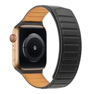 Curea Apple Watch Series 6/SE/5/4 44mm / Series 3 2 1 Watch 42mm Piele Ecologica Magnetica Neagra