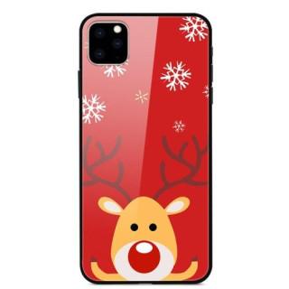 Husa iPhone 11 Pro Max Christmas Cu Spate Din Sticla Rosie