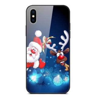 Husa iPhone XS Max Santa Claus and Ball Cu Spate Din Sticla Colorata
