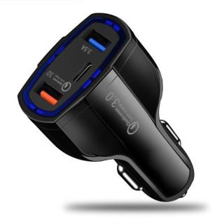 Incarcator Masina HTC U12+ Dual USB Si USB Tip C Negru