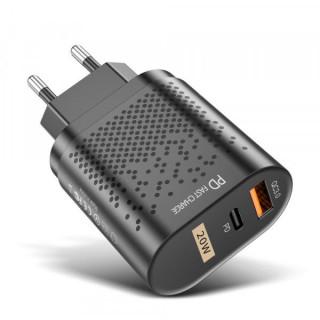 Incarcator retea cu port USB si USB Type C Quick Charge 3,0 Negru