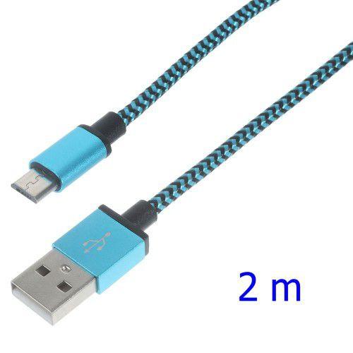 Cablu Data Sync Si Incarcare 2 Metri Micro USB Samsung / HTC / Sony / LG Material Textil Albastru